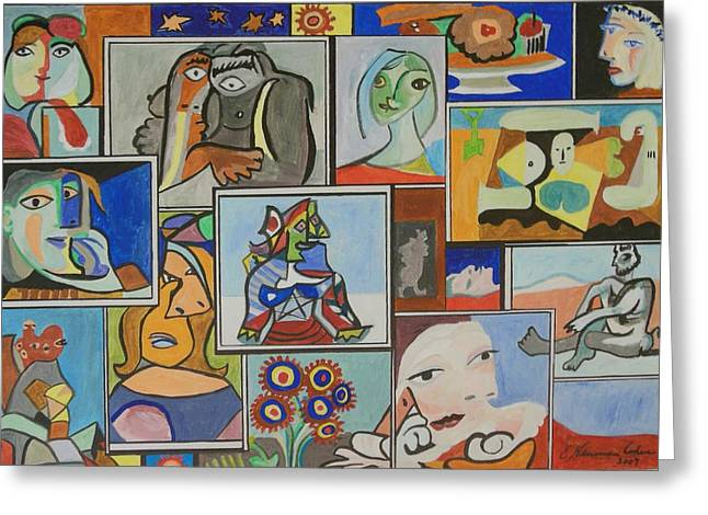 Deconstructed Greeting Cards - Deconstructing Picasso - Lovely Women Greeting Card by Esther Newman-Cohen