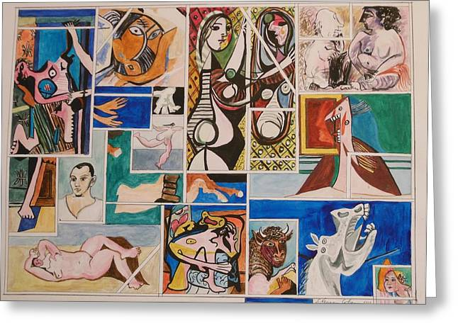Deconstructing Picasso - Seduction And Rage Greeting Card by Esther Newman-Cohen