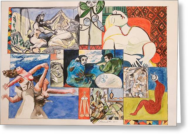 Deconstructed Greeting Cards - Deconstructing Picasso - Sleep and Fantasy Greeting Card by Esther Newman-Cohen