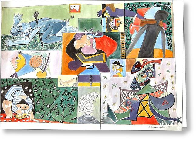 Deconstructed Greeting Cards - Deconstructing Picasso The Sigh of the Wounded Greeting Card by Esther Newman-Cohen
