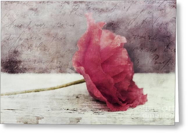 Pinkish Greeting Cards - Decor Poppy Horizontal Greeting Card by Priska Wettstein