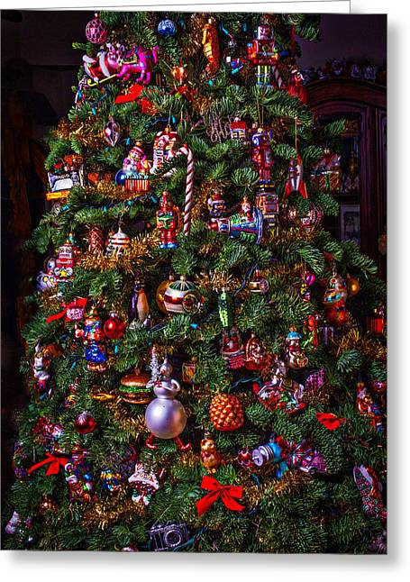 Decorated Greeting Cards - Decorated Christmas Tree Greeting Card by Garry Gay