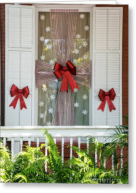 19th Century America Photographs Greeting Cards - Decorated Christmas Window Key West Greeting Card by Ian Monk