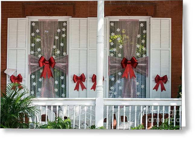 19th Century America Photographs Greeting Cards - Decorated Christmas Windows Key West  Greeting Card by Ian Monk