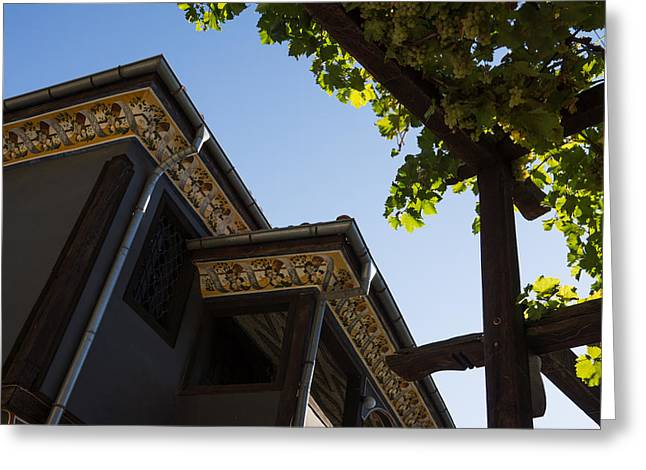 Overhang Greeting Cards - Decorated Eaves and Grapes Trellis - Old Town Plovdiv Bulgaria Greeting Card by Georgia Mizuleva