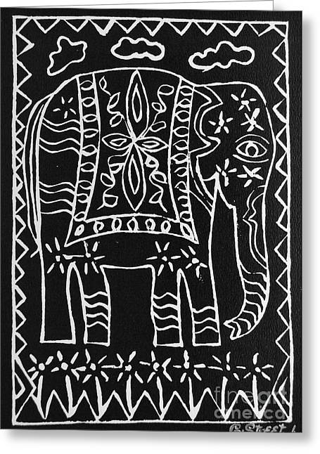 Lino Print Greeting Cards - Decorated Elephant Greeting Card by Caroline Street