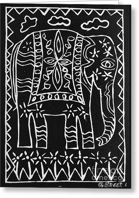 Lino Reliefs Greeting Cards - Decorated Elephant Greeting Card by Caroline Street