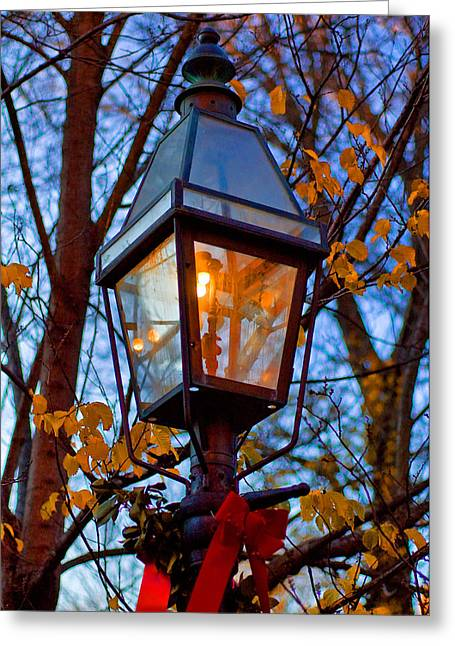Christmas Greeting Photographs Greeting Cards - Decorated Lamp Post Holiday Card Greeting Card by Joann Vitali