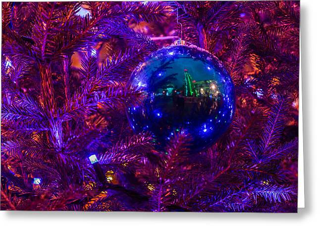 Decoration Ball On A Christmas Tree Illuminated With Red Light - Featured 3 Greeting Card by Alexander Senin