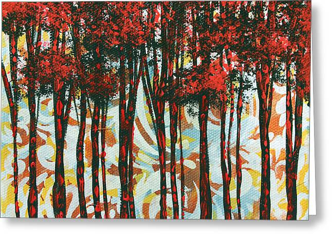 Over Sized Greeting Cards - Decorative Abstract Floral Bird Landscape Painting FOREST OF DREAMS II by Megan Duncanson Greeting Card by Megan Duncanson