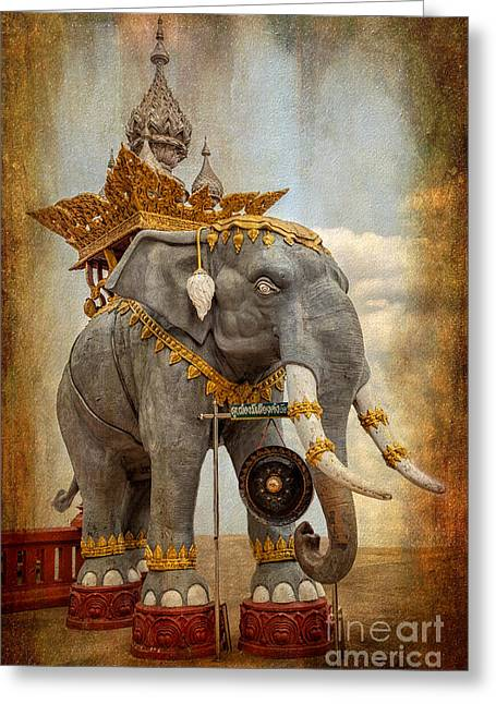 Seated Digital Art Greeting Cards - Decorative Elephant Greeting Card by Adrian Evans
