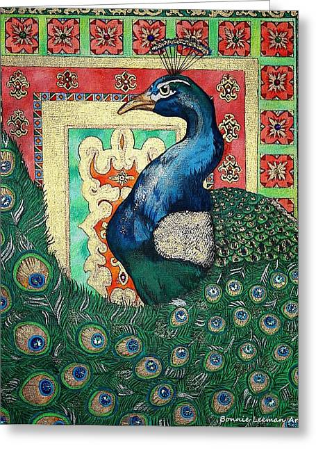 Painted Details Drawings Greeting Cards - Decorative Peacock Greeting Card by Bonnie Leeman