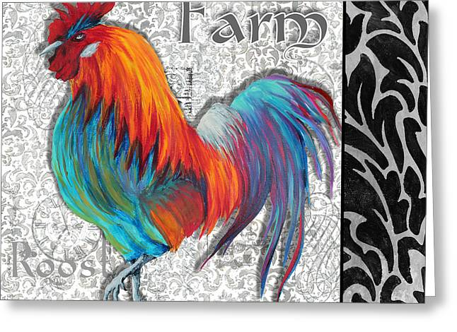 Licensor Greeting Cards - Decorative Rooster Chicken Decorative Art Original Painting King of the Roost By Megan Duncanson Greeting Card by Megan Duncanson