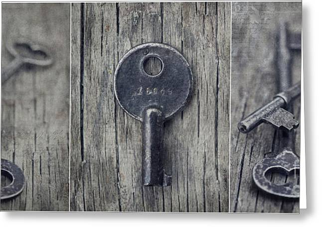 Schluessel Greeting Cards - decorative vintage keys I Greeting Card by Priska Wettstein