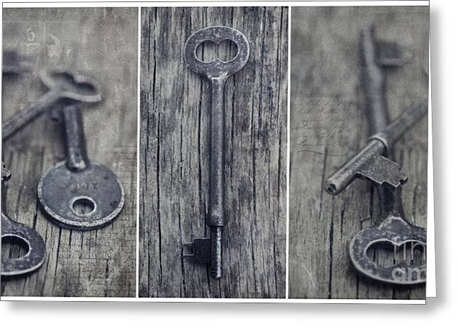 Schluessel Greeting Cards - decorative vintage keys II Greeting Card by Priska Wettstein