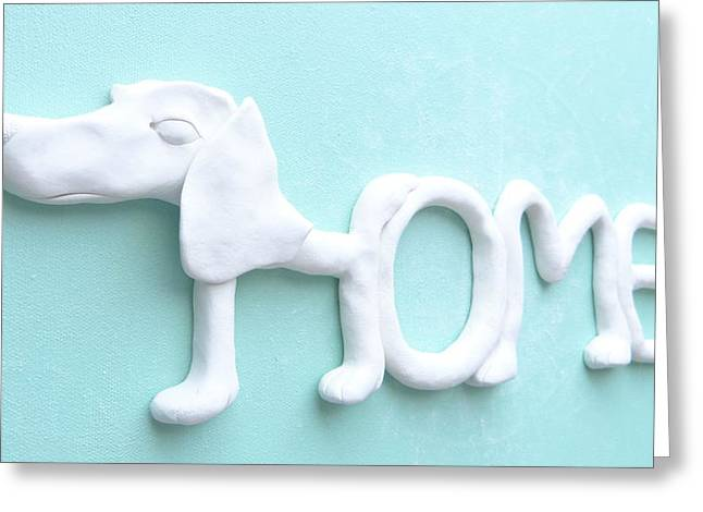 Signed Sculptures Greeting Cards - Decorative Wall Home Sign - DOG Greeting Card by Lenka Kasprisin