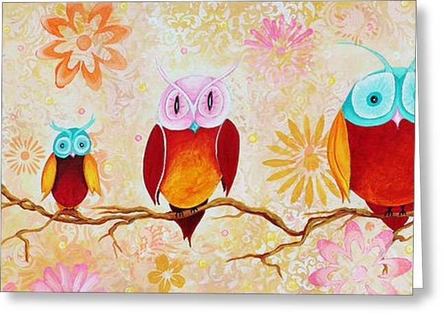 Apricots Paintings Greeting Cards - Decorative Whimsical Owl Owls Chi Omega Painting by Megan Duncanson Greeting Card by Megan Duncanson