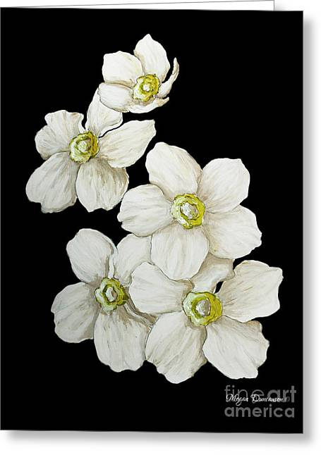 Decorative White Floral Flowers Art Original Chic Painting Madart Studios Greeting Card by Megan Duncanson