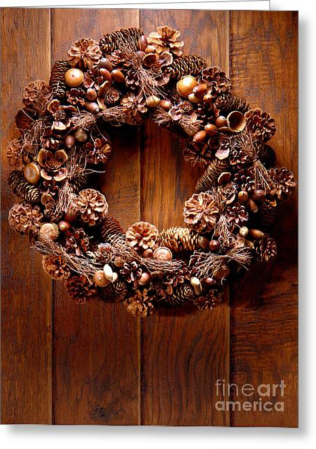 Wreath Greeting Cards - Decorative Wreath Greeting Card by Olivier Le Queinec
