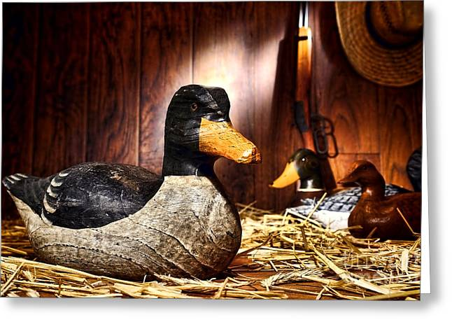 Hunting Greeting Cards - Decoy in Old Hunting Barn Greeting Card by Olivier Le Queinec