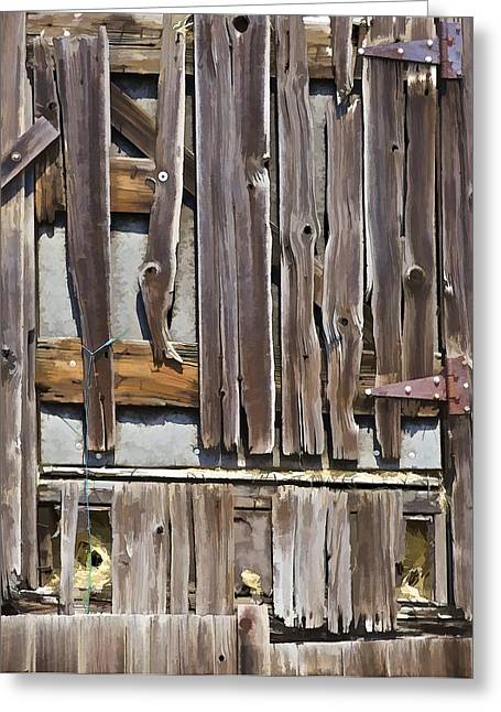 Old Crumbling Barn Greeting Cards - Decrepit Barn Door Greeting Card by David Letts