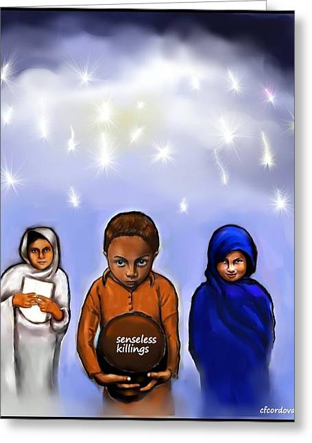 Senseless Greeting Cards - Dedicated to the Pakistani Children Greeting Card by Carmen Cordova