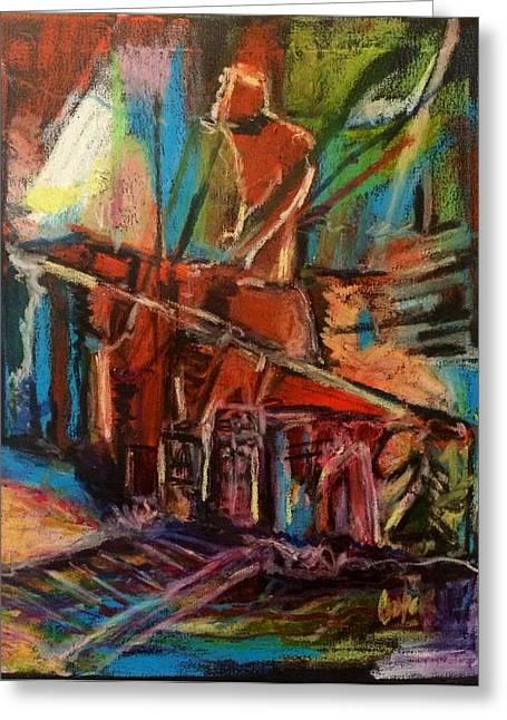 Pamela Cooper Paintings Greeting Cards - Deejay on 112 Carson Street Greeting Card by Pamela Cooper