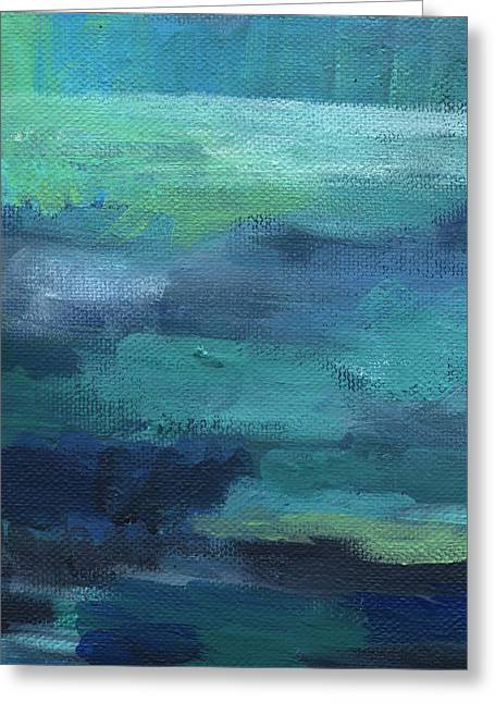 Serene Mixed Media Greeting Cards - Tranquility- abstract painting Greeting Card by Linda Woods