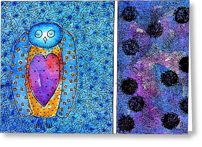 Office Space Mixed Media Greeting Cards - Deep blue night Greeting Card by Ans De Bie