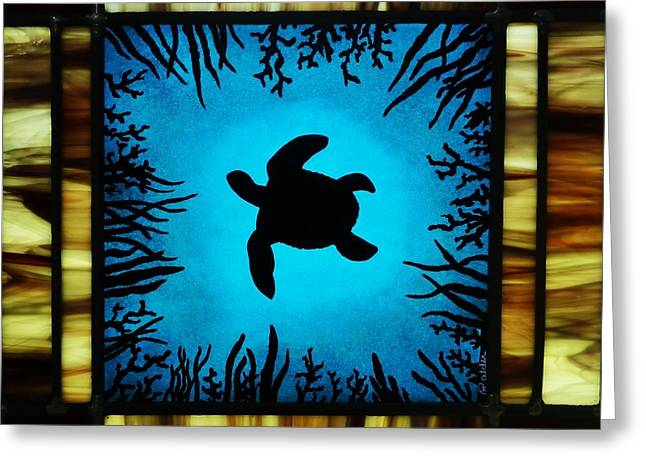 Shadow Glass Art Greeting Cards - Deep Blue Greeting Card by Samantha  Calder