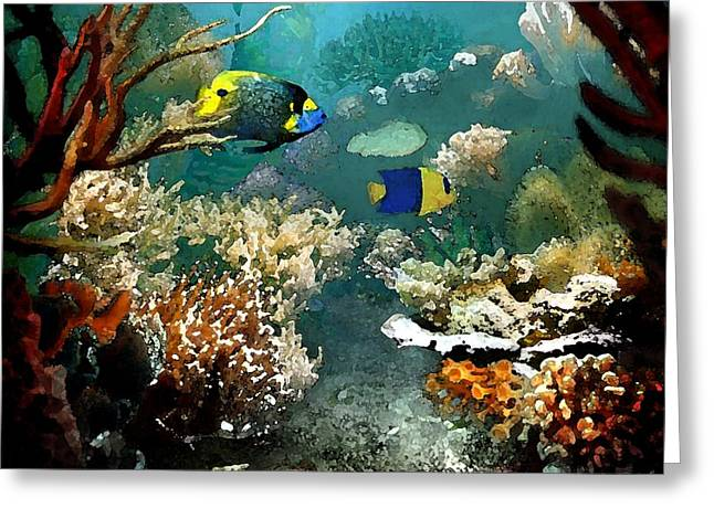 Reef Fish Drawings Greeting Cards - Deep Blue Sea Greeting Card by Cole Black