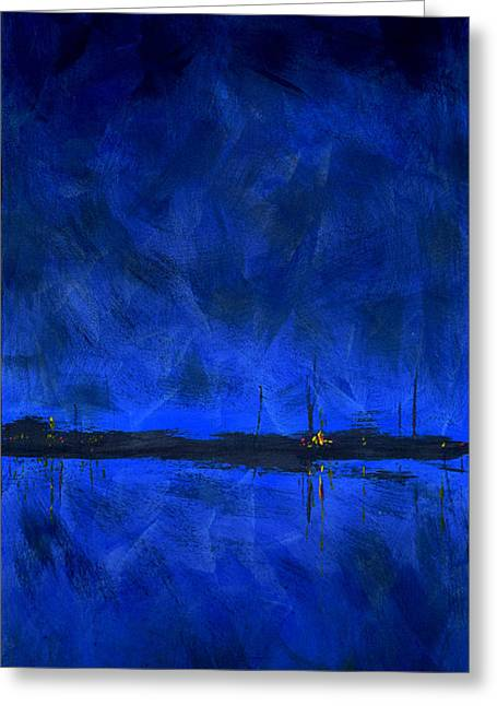 Masts Greeting Cards - Deep Blue Triptych 1 of 3 Greeting Card by Charles Harden