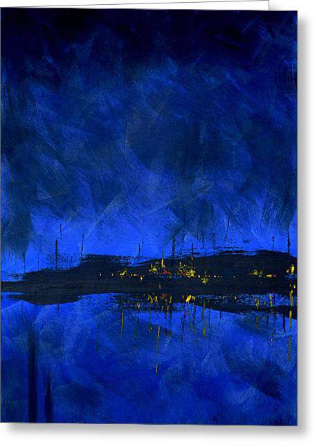 Deep Feelings Greeting Cards - Deep Blue Triptych 2 of 3 Greeting Card by Charles Harden