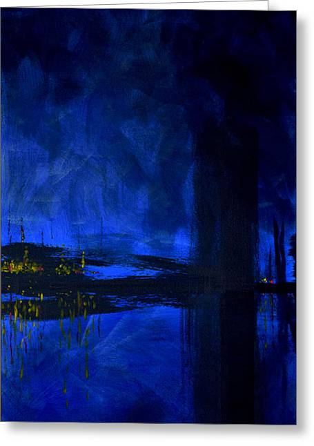Deep Feelings Greeting Cards - Deep Blue Triptych 3 of 3 Greeting Card by Charles Harden