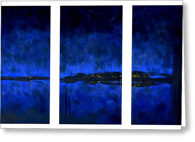 Deep Feelings Greeting Cards - Deep Blue Triptych Greeting Card by Charles Harden
