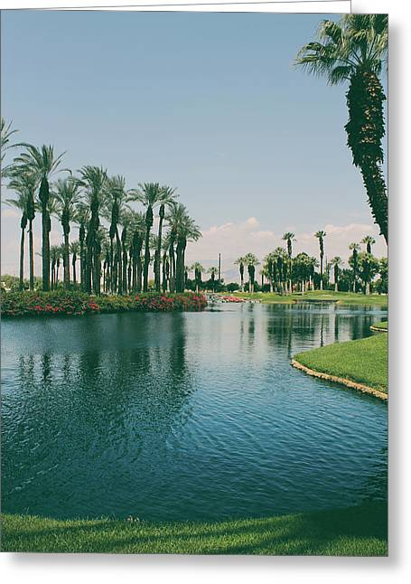 Palm Tree Reflection Greeting Cards - Deep Breath and Sigh Greeting Card by Laurie Search