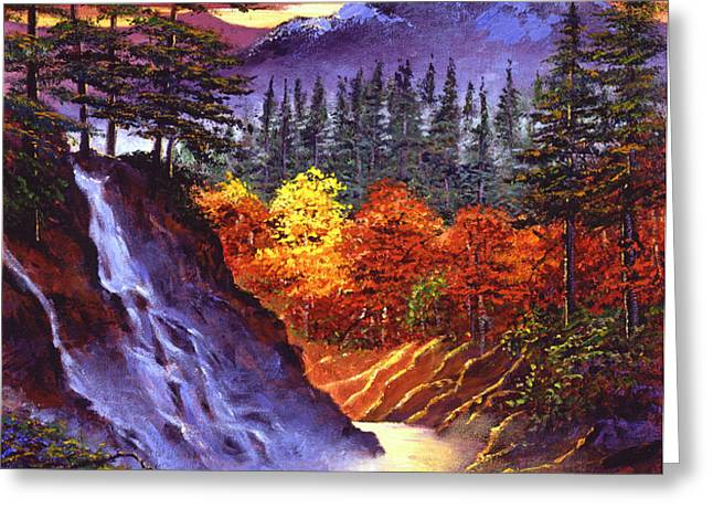 Deep Canyon Falls Greeting Card by David Lloyd Glover