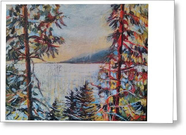 North Vancouver Mixed Media Greeting Cards - Deep Cove Greeting Card by Lyza Del Mar Gustin