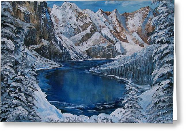 White Paintings Greeting Cards - Deep Dark  and Cold Greeting Card by Sharon Duguay