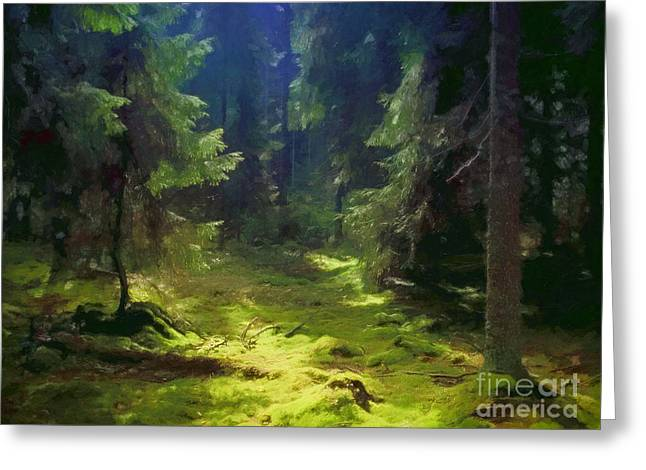 Photoart Greeting Cards - Deep Forest Greeting Card by Lutz Baar