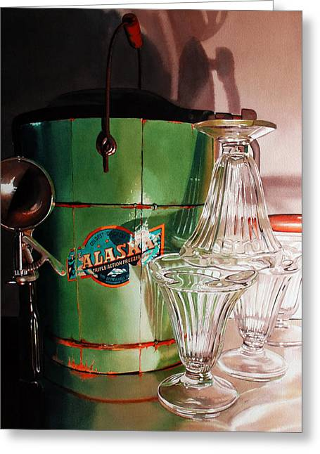 Vintage Appliance Greeting Cards - Deep Freeze Greeting Card by Denny Bond