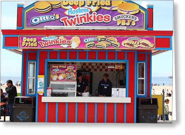 Santa Cruz Ca Photographs Greeting Cards - Deep Fried Hostess Twinkies At The Santa Cruz Beach Boardwalk California 5D23689 Greeting Card by Wingsdomain Art and Photography
