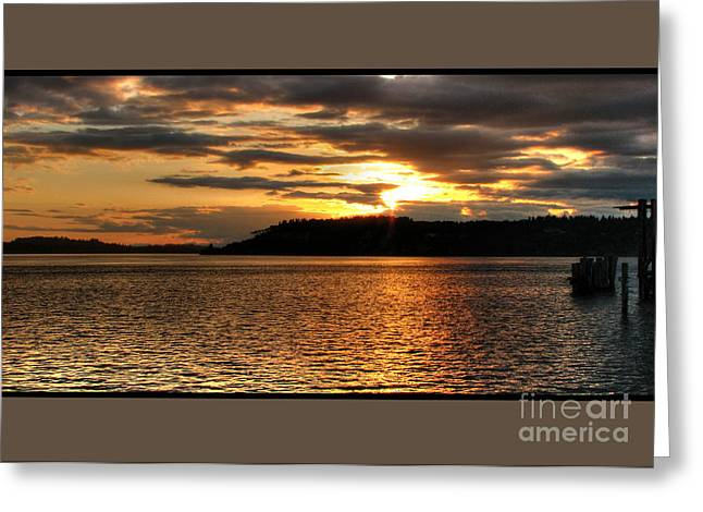 South Puget Sound Greeting Cards - Deep Gold Greeting Card by Chris Anderson