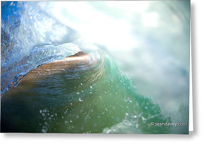 Surf Art Greeting Cards - Deep Green Greeting Card by Sean Davey