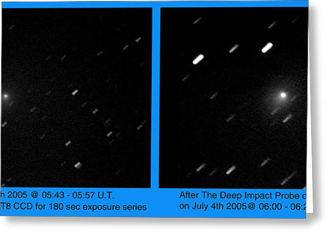 Probe Greeting Cards - Deep Impact Probe Colliding With Comet Greeting Card by John Chumack