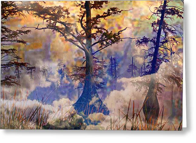 Waterscape Digital Art Greeting Cards - Deep In The Swamp Sunrise Greeting Card by J Larry Walker