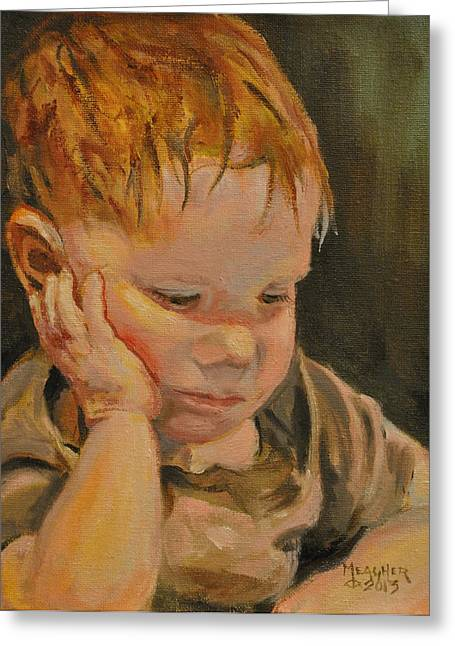 Little Boy Greeting Cards - Deep In Thought Greeting Card by Spencer Meagher