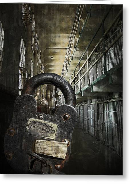 Confined Greeting Cards - Deep Lockdown Alcatraz Greeting Card by Daniel Hagerman