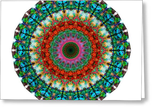 Sacred Circle Greeting Cards - Deep Love - Mandala Art By Sharon Cummings Greeting Card by Sharon Cummings