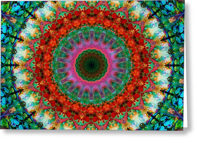 Chanting Greeting Cards - Deep Love - Mandala Art By Sharon Cummings Greeting Card by Sharon Cummings